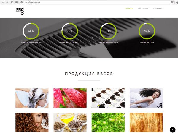 Оформление блока Продукции на сайте итальянской косметики для волос в Украине BBCOS