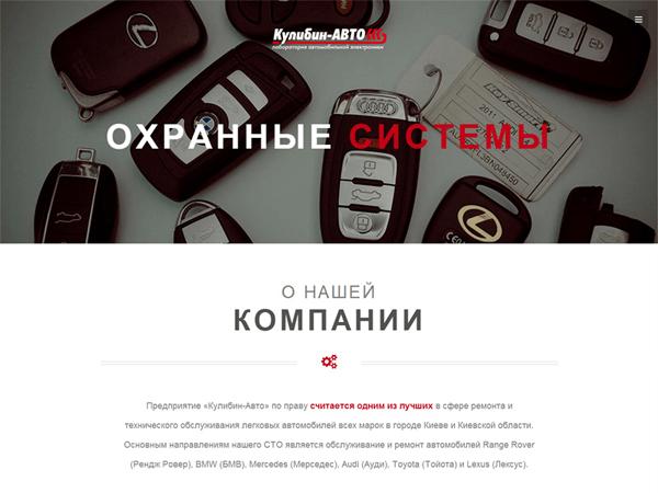Слайдер на главной странице сайта-визитки киевской СТО Кулибин-авто