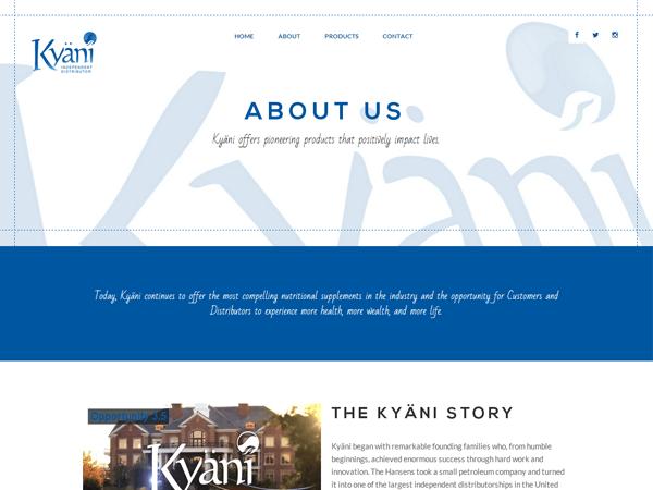 страница о нас сайта сетевой компании Kyani, созданный киевской веб-студией poollooq/LAB