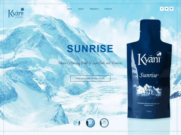 рекламный слайдер продукта на сайте Kyani, созданный киевской веб-студией poollooq/LAB