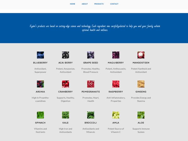 секция ингредиентов продукции на странице сайта Kyani, созданный киевской веб-студией poollooq/LAB